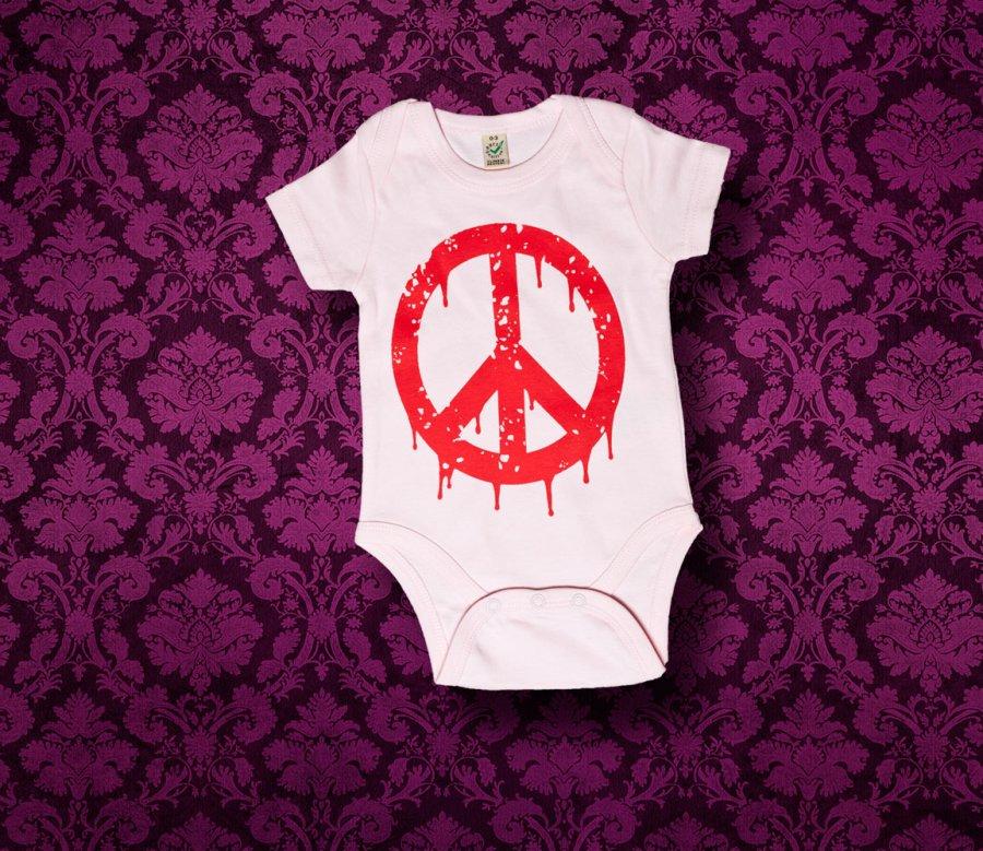 Baby Body kurzarm - PEACE - 0-3 Monate - Girl