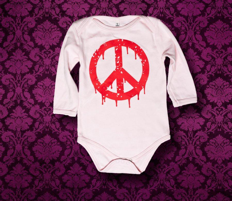 Babybody langarm - PEACE - 12 Monate - Girl
