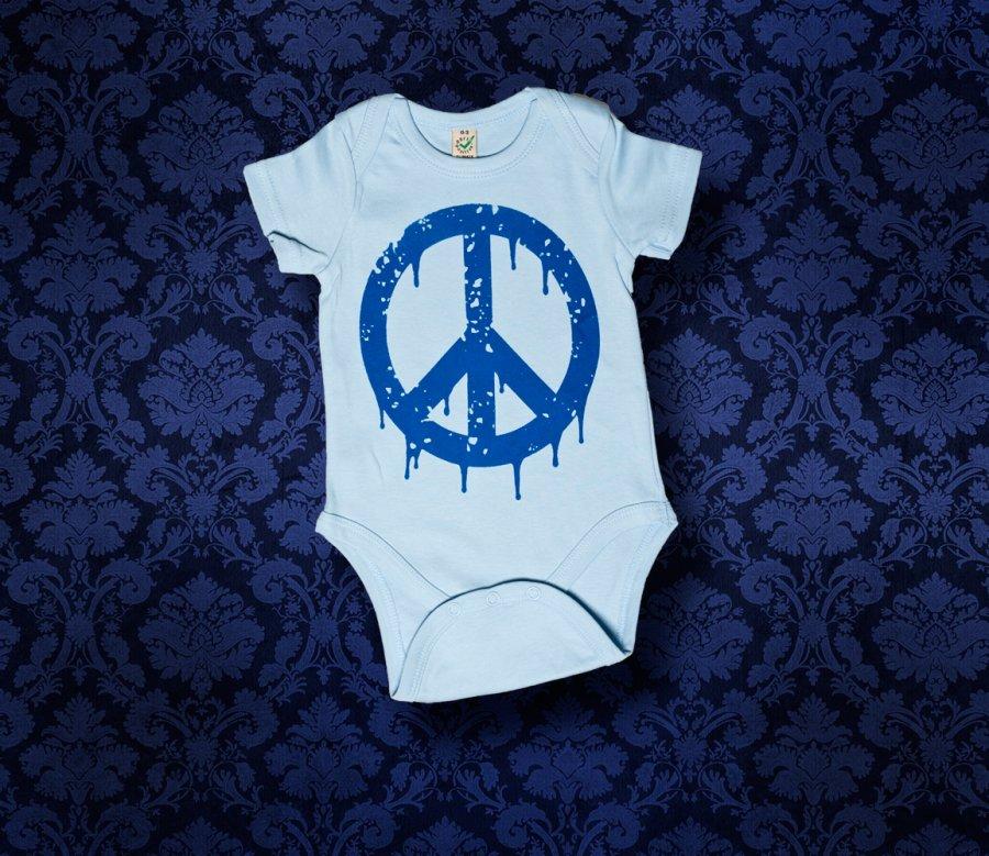 Baby Body kurzarm - PEACE - 0-3 Monate - Boy