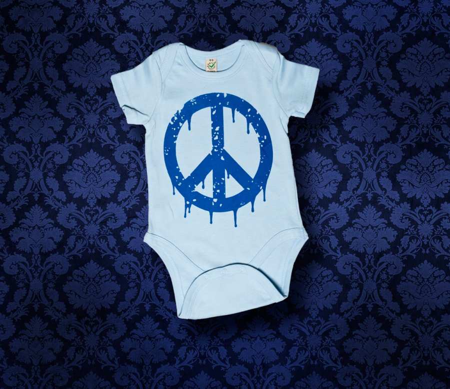 Baby Body kurzarm - PEACE - 0-3 Monate - Boy
