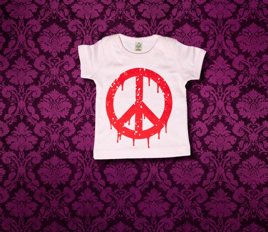 Baby Shirt kurzarm - PEACE - 0-3 Monate - Girl