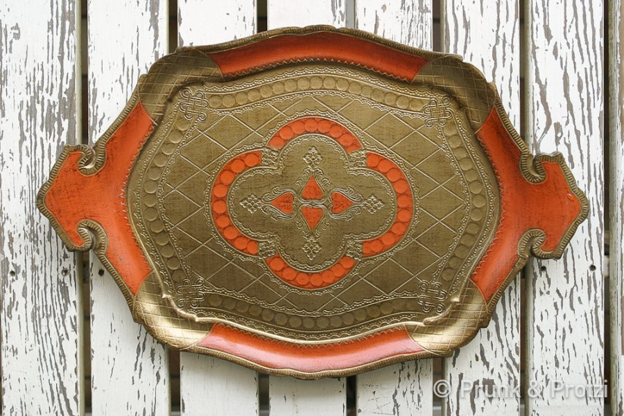 Florentiner Tablett - Shabby Chic - orange gold