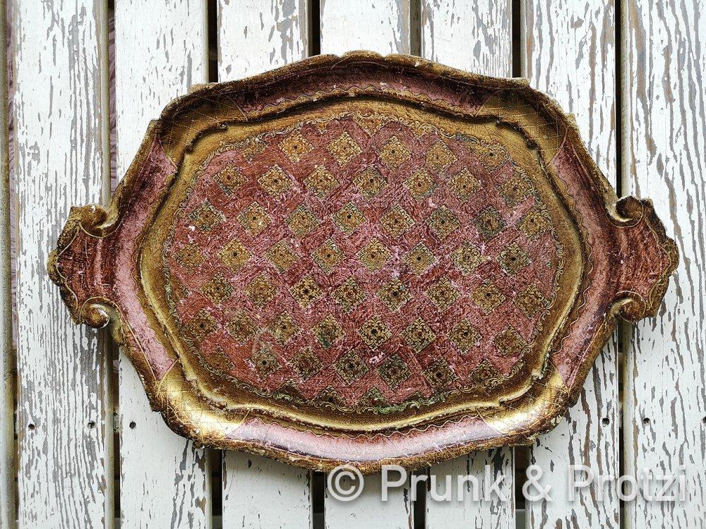 Florentiner Tablett - Shabby Chic - gold violett